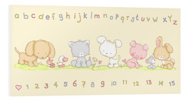 Quadro em PVC  baby pet animals with alphabet and numbers - Fluffy Feelings