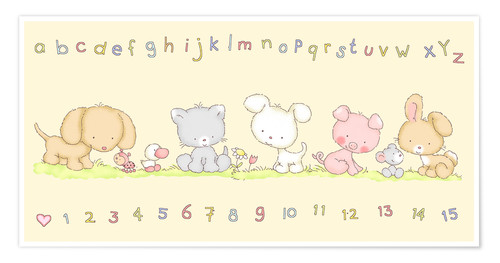 Póster Premium baby pet animals with alphabet and numbers