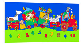 Quadro em PVC  tractor train with farm animals and numbers - Fluffy Feelings