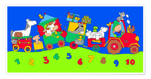 Póster Premium tractor train with farm animals and numbers