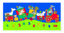 Póster Premium  tractor train with farm animals and numbers - Fluffy Feelings