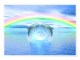 Póster Premium Dolphins Rainbow Healing