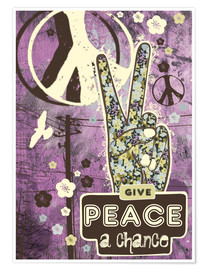 Póster Premium Give Peace A Chance