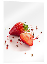 Quadro em acrílico  Strawberries with red peppercorns - Edith Albuschat