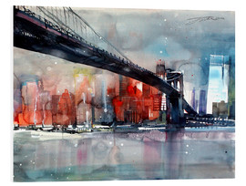 Quadro em PVC  New York, Brooklyn Bridge IV - Johann Pickl