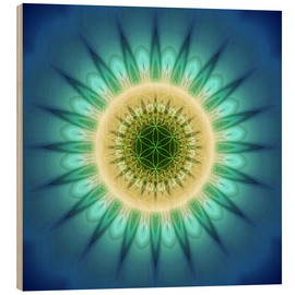 Quadro de madeira  mandala blue light with Flower of Life - Christine Bässler