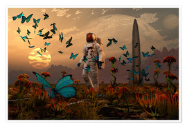 Póster Premium  A astronaut is greeted by a swarm of butterflies on an alien world. - Mark Stevenson