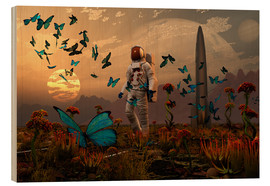 Quadro de madeira  A astronaut is greeted by a swarm of butterflies on an alien world. - Mark Stevenson