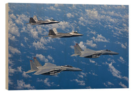 Quadro de madeira  Two F-15 Eagles and F-22 - HIGH-G Productions