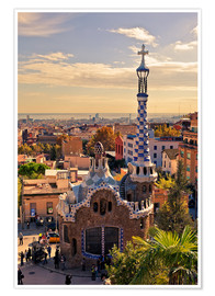 Póster Premium Park Guell in Barcelona