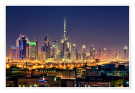 Póster Premium  Dubai skyline at night - Stefan Becker