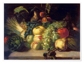 Póster Premium  Still life with fruits and vegetables - Theodore Gericault