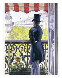 Póster Premium  Man on a balcony - Gustave Caillebotte