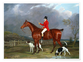 Póster Premium A Huntsman and Hounds, 1824