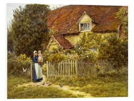 Quadro em PVC  Mother and child on lodge - Helen Allingham