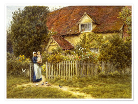 Póster Premium  Mother and child on lodge - Helen Allingham