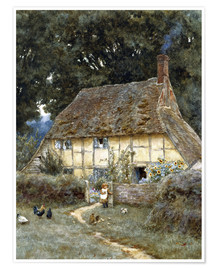 Póster Premium  On the Brook Road, near Witley - Helen Allingham