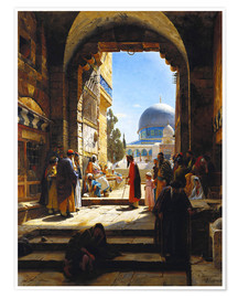 Póster Premium  At the Entrance to the Temple Mount, Jerusalem - Gustave Bauernfeind
