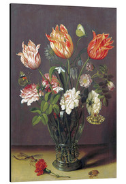 Quadro em alumínio  Tulips with other Flowers in a Glass on a Table - Jan Brueghel d.Ä.