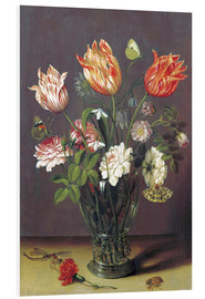 Quadro em PVC  Tulips with other Flowers in a Glass on a Table - Jan Brueghel d.Ä.