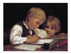 Póster Premium  Boy writing with his sister - Albert Anker