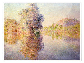 Póster Premium  Early Morning on the Seine at Giverny - Claude Monet