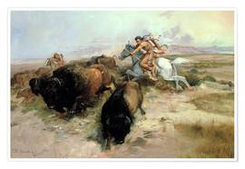 Póster Premium  Buffalo Hunt, 1897 - Charles Marion Russell