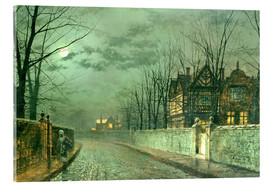 Quadro em acrílico  Old English House, Moonlight after Rain - John Atkinson Grimshaw