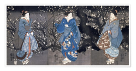 Póster Premium An oban triptych depicting a Nocturnal Scene with three Bijin