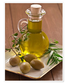 Póster Premium  Olive oil and olives - Edith Albuschat