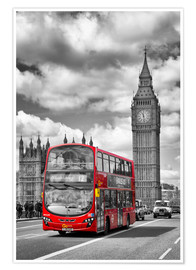 Póster Premium  Big Ben and Red Bus - Melanie Viola