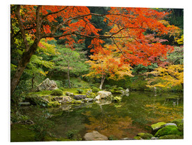 Quadro em PVC  Japanese garden in autumn with red maple tree - Jan Christopher Becke