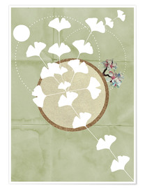 Póster Premium  GINGKO TREE BY 5 CLOCK EARLY - Sabrina Tibourtine