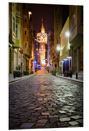 Quadro em PVC  The famous Galata-Tower at night (Istanbul/Turkey) - gn fotografie