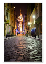 Póster Premium  The famous Galata-Tower at night (Istanbul/Turkey) - gn fotografie