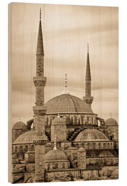 Quadro de madeira  the blue mosque in sepia (Istanbul - Turkey) - gn fotografie