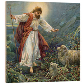 Quadro de madeira  Jesus Christ, the tender shepherd - Ambrose Dudley