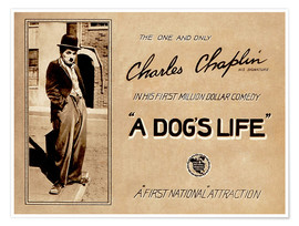 Póster Premium  A Dogs Life, Charlie Chaplin poster Photo 1918