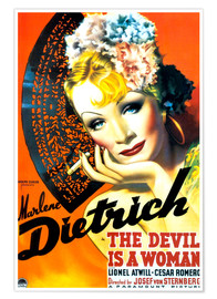 Póster Premium  THE DEVIL IS A WOMAN, Marlene Dietrich, 1935 Poster Art
