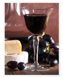 Póster Premium  Cheese platter with wine - Edith Albuschat