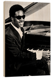 Quadro de madeira  Stevie Wonder at the piano