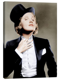 Quadro em tela  Marlene Dietrich with a suit and cylinder