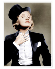 Póster Premium  Marlene Dietrich with a suit and cylinder