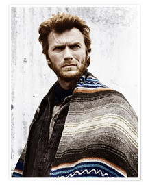 Póster Premium  Clint Eastwood with a poncho