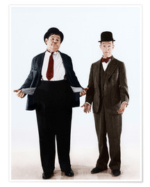 Póster Premium  Laurel & Hardy with empty pockets
