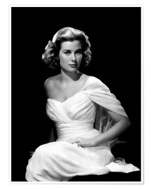 Póster Premium  Grace Kelly in a white dress