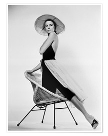 Póster Premium  Grace Kelly with hat