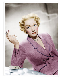Póster Premium  Marlene Dietrich, wearing a suit by Christian Dior