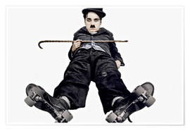 Póster Premium  Charlie Chaplin with roller skates