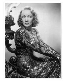 Póster Premium  Marlene Dietrich in a sequined dress